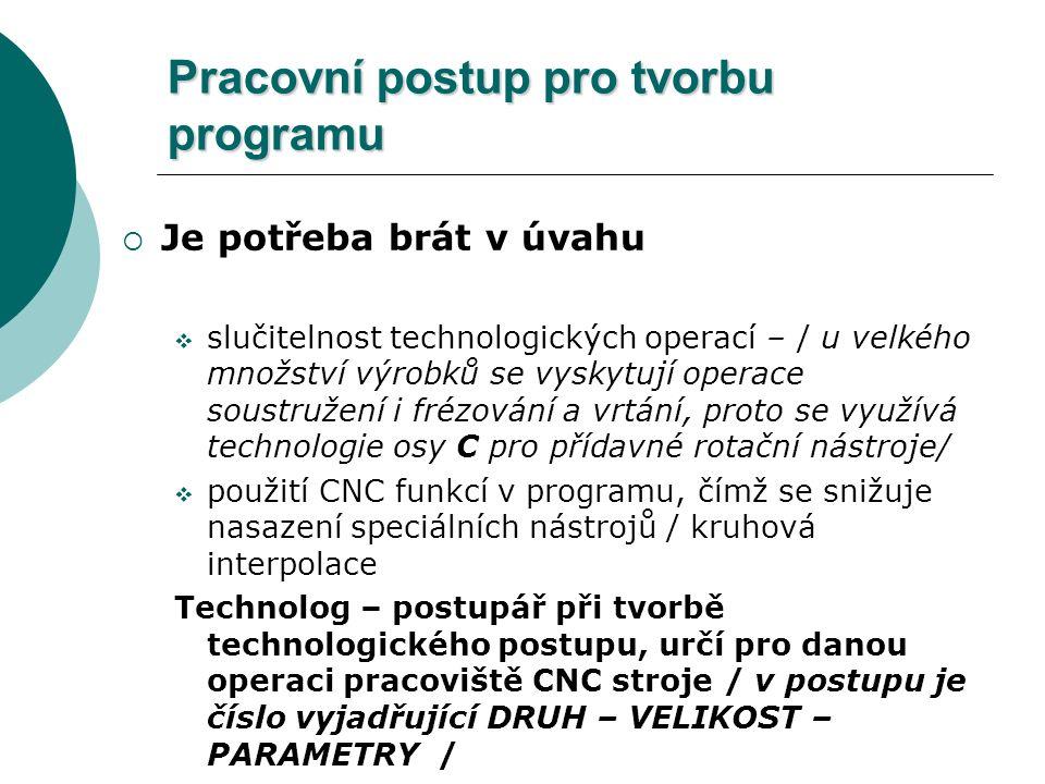 Pracovní postup pro tvorbu programu  Je potřeba brát v úvahu  slučitelnost technologických operací – / u velkého množství výrobků se vyskytují opera