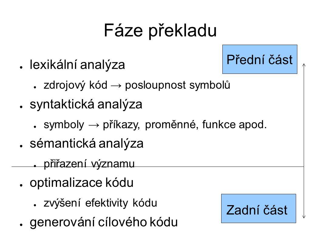 Fáze překladu ● lexikální analýza ● zdrojový kód → posloupnost symbolů ● syntaktická analýza ● symboly → příkazy, proměnné, funkce apod.