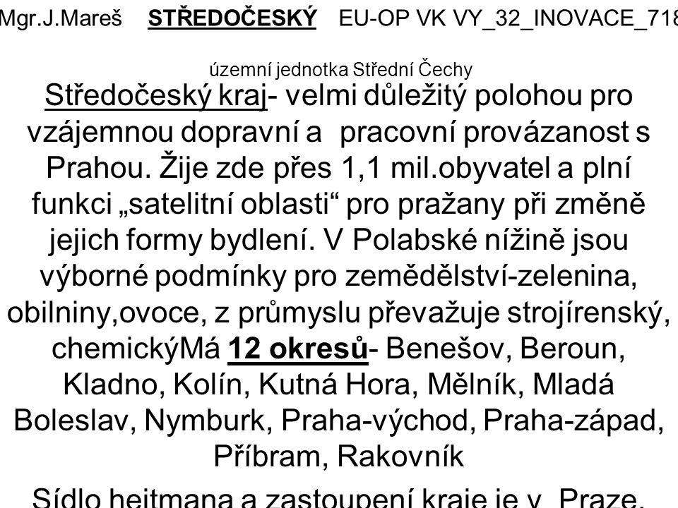Mgr.J.Mareš STŘEDOČESKÝ EU-OP VK VY_32_INOVACE_718 územní jednotka Střední Čechy Středočeský kraj- velmi důležitý polohou pro vzájemnou dopravní a pracovní provázanost s Prahou.
