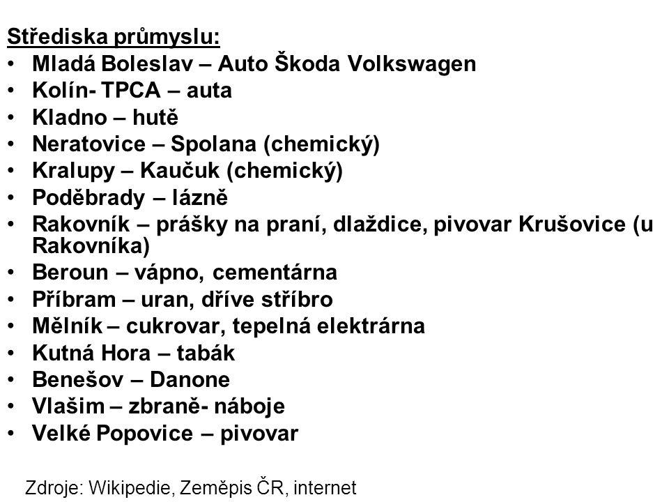 Střediska průmyslu: Mladá Boleslav – Auto Škoda Volkswagen Kolín- TPCA – auta Kladno – hutě Neratovice – Spolana (chemický) Kralupy – Kaučuk (chemický) Poděbrady – lázně Rakovník – prášky na praní, dlaždice, pivovar Krušovice (u Rakovníka) Beroun – vápno, cementárna Příbram – uran, dříve stříbro Mělník – cukrovar, tepelná elektrárna Kutná Hora – tabák Benešov – Danone Vlašim – zbraně- náboje Velké Popovice – pivovar Zdroje: Wikipedie, Zeměpis ČR, internet