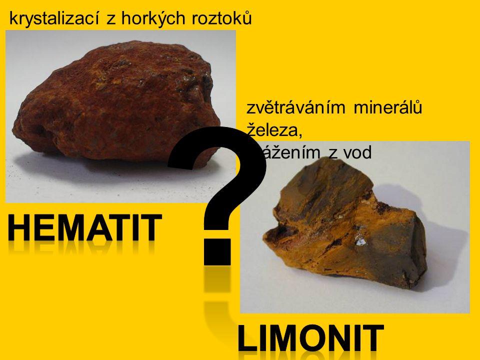 krystalizací z horkých roztoků zvětráváním minerálů železa, srážením z vod