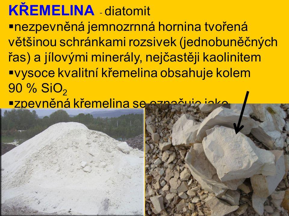 KŘEMELINA - diatomit  nezpevněná jemnozrnná hornina tvořená většinou schránkami rozsivek (jednobuněčných řas) a jílovými minerály, nejčastěji kaolinitem  vysoce kvalitní křemelina obsahuje kolem 90 % SiO 2  zpevněná křemelina se označuje jako diatomové břidlice