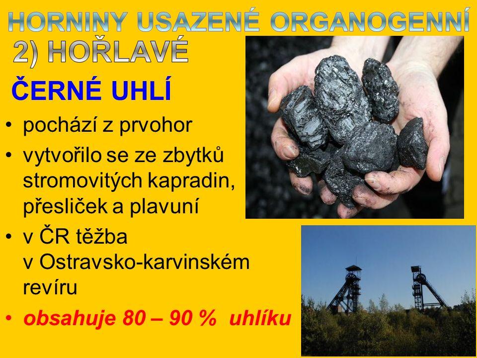 ČERNÉ UHLÍ pochází z prvohor vytvořilo se ze zbytků stromovitých kapradin, přesliček a plavuní v ČR těžba v Ostravsko-karvinském revíru obsahuje 80 – 90 % uhlíku