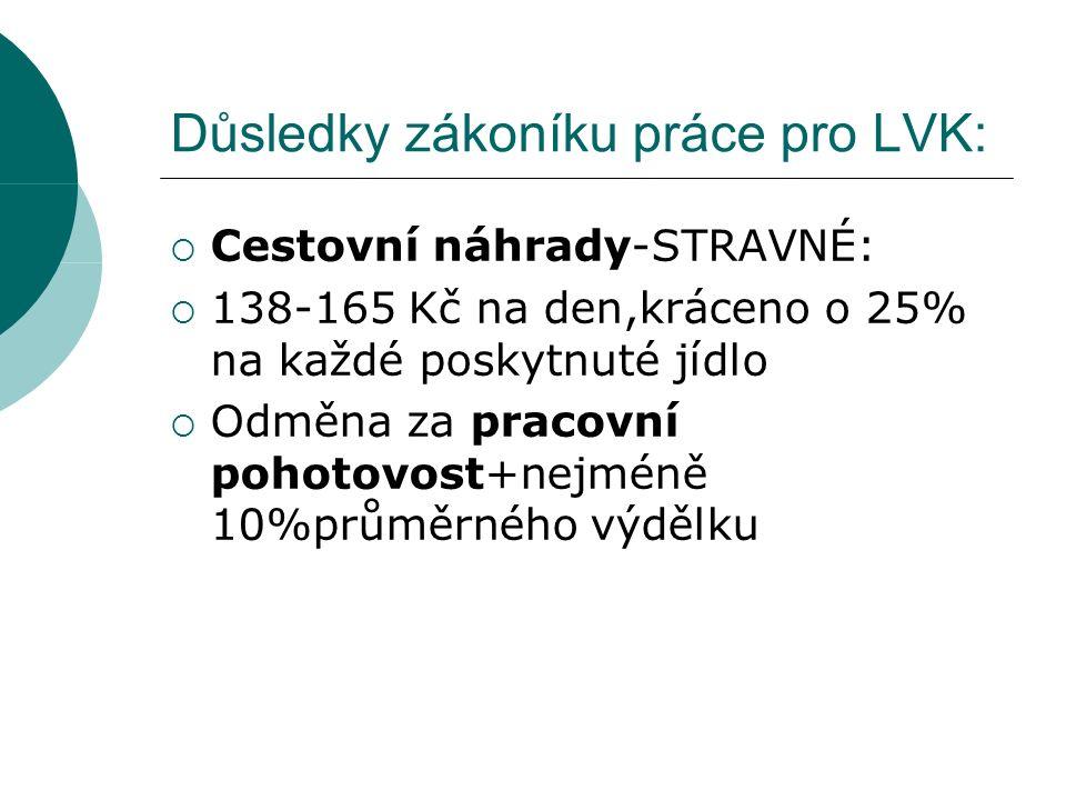 Důsledky zákoníku práce pro LVK:  Minimální mzda- 48,10 Kč na hodinu  Noční práce+10%prům.