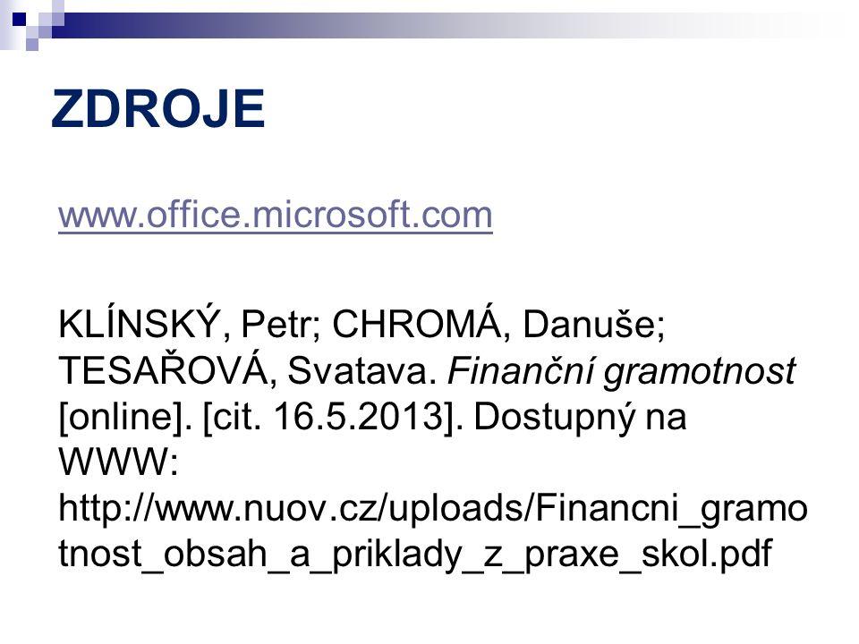 ZDROJE www.office.microsoft.com KLÍNSKÝ, Petr; CHROMÁ, Danuše; TESAŘOVÁ, Svatava. Finanční gramotnost [online]. [cit. 16.5.2013]. Dostupný na WWW: htt