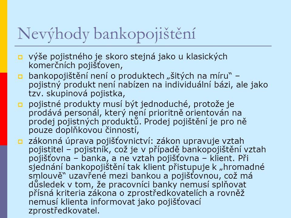 """Nevýhody bankopojištění  výše pojistného je skoro stejná jako u klasických komerčních pojišťoven,  bankopojištění není o produktech """"šitých na míru – pojistný produkt není nabízen na individuální bázi, ale jako tzv."""