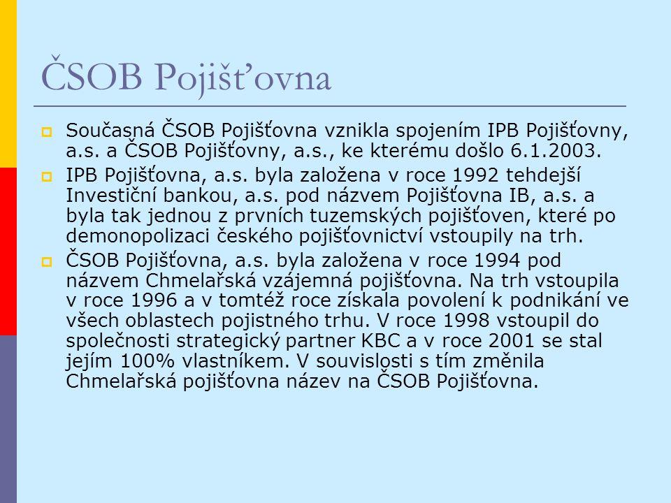 ČSOB Pojišťovna  Současná ČSOB Pojišťovna vznikla spojením IPB Pojišťovny, a.s.