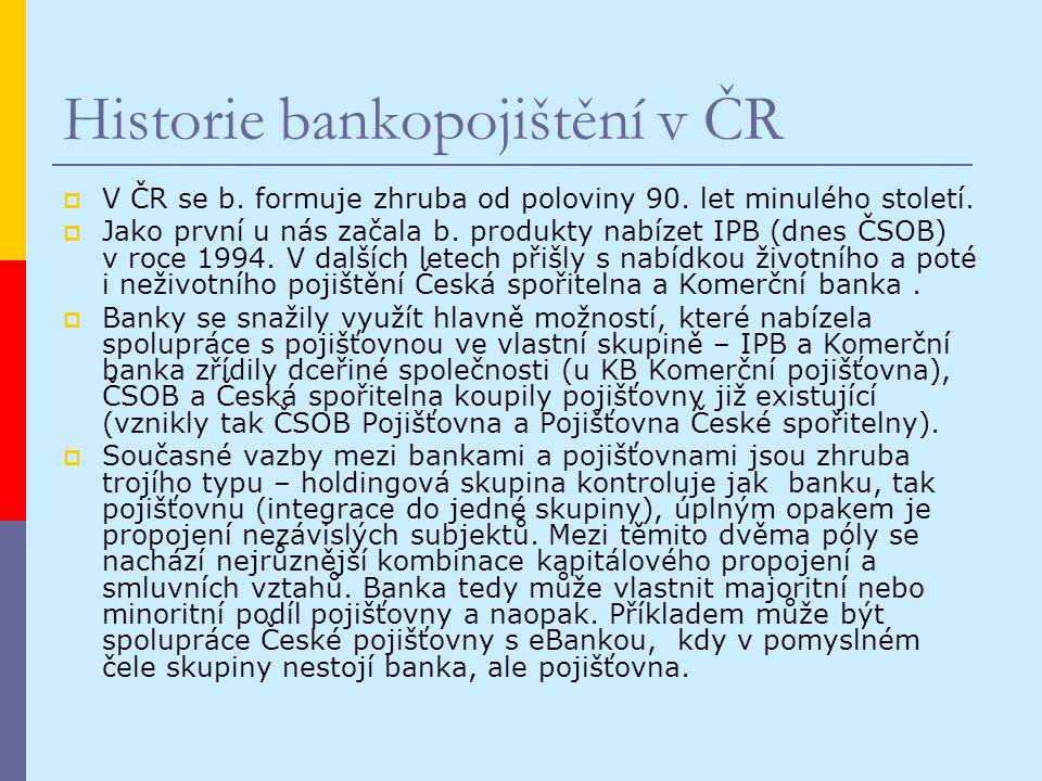 Historie bankopojištění v ČR  V ČR se b. formuje zhruba od poloviny 90.