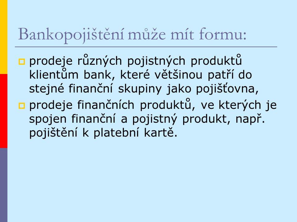 Bankopojištění může mít formu:  prodeje různých pojistných produktů klientům bank, které většinou patří do stejné finanční skupiny jako pojišťovna,  prodeje finančních produktů, ve kterých je spojen finanční a pojistný produkt, např.