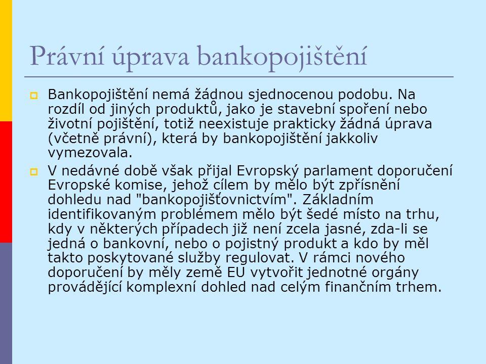 Právní úprava bankopojištění  Bankopojištění nemá žádnou sjednocenou podobu.