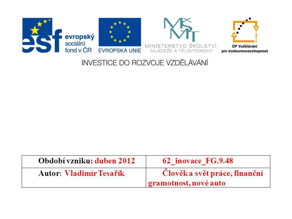 Období vzniku: duben 201262_inovace_FG.9.48 Autor : Vladimír TesaříkČlověk a svět práce, finanční gramotnost, nové auto
