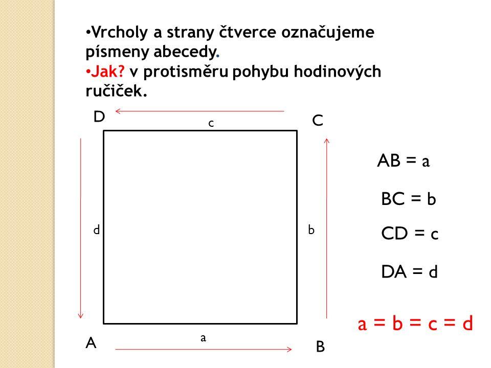 Vrcholy a strany čtverce označujeme písmeny abecedy.