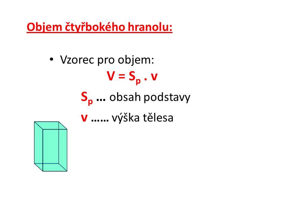 Objem čtyřbokého hranolu: Vzorec pro objem: V = S p. v S p … obsah podstavy v …… výška tělesa