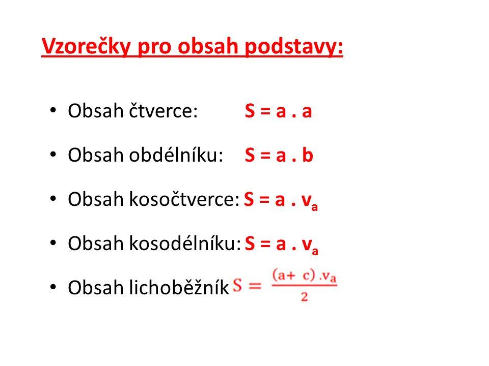 Vzorečky pro obvod podstavy: Obvod čtverce:o = 4.