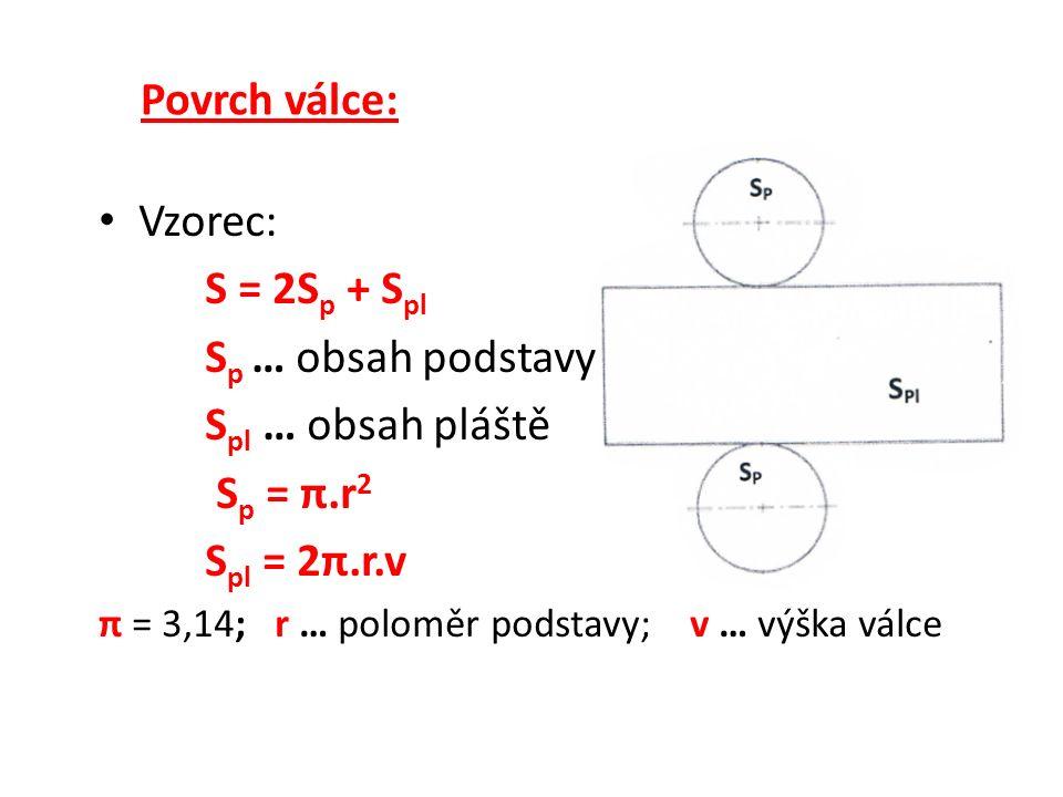 Povrch válce: Vzorec: S = 2S p + S pl S p … obsah podstavy S pl … obsah pláště S p = π.r 2 S pl = 2π.r.v π = 3,14; r … poloměr podstavy; v … výška válce