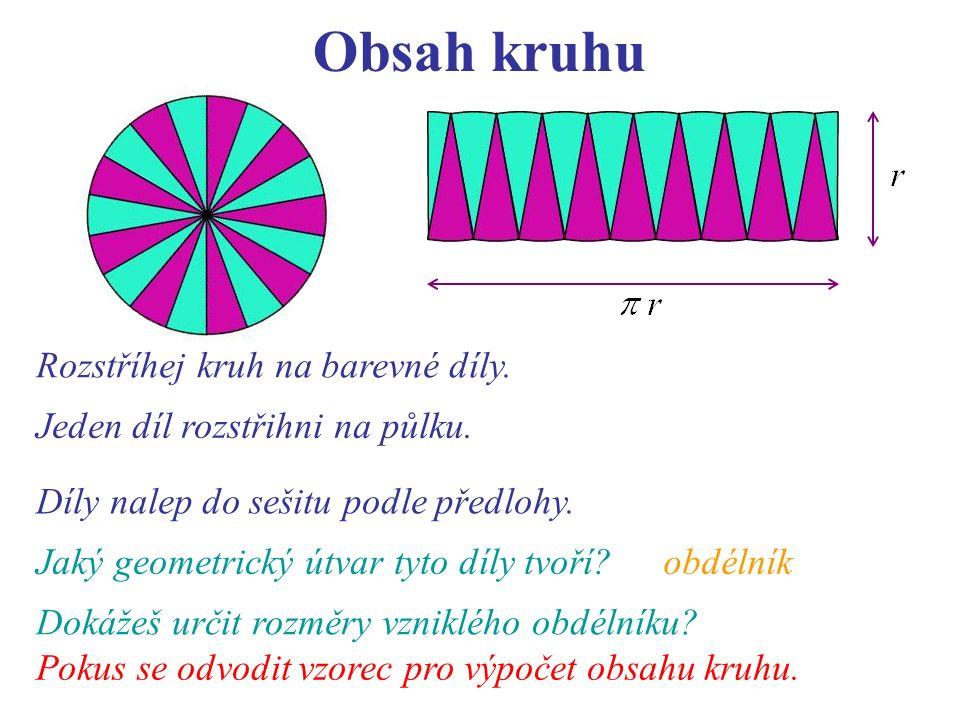 Obsah kruhu Rozstříhej kruh na barevné díly. Jeden díl rozstřihni na půlku.
