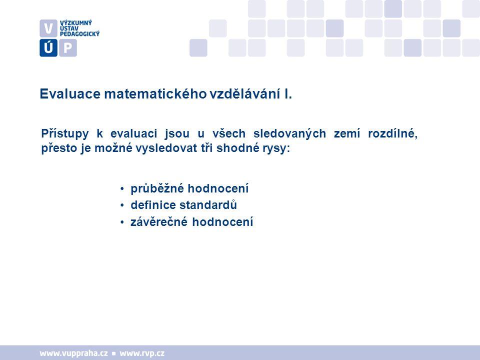 Evaluace matematického vzdělávání I.