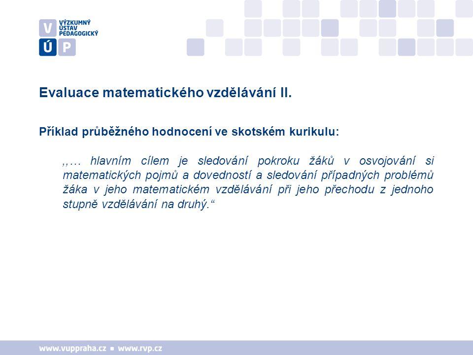 Evaluace matematického vzdělávání II.