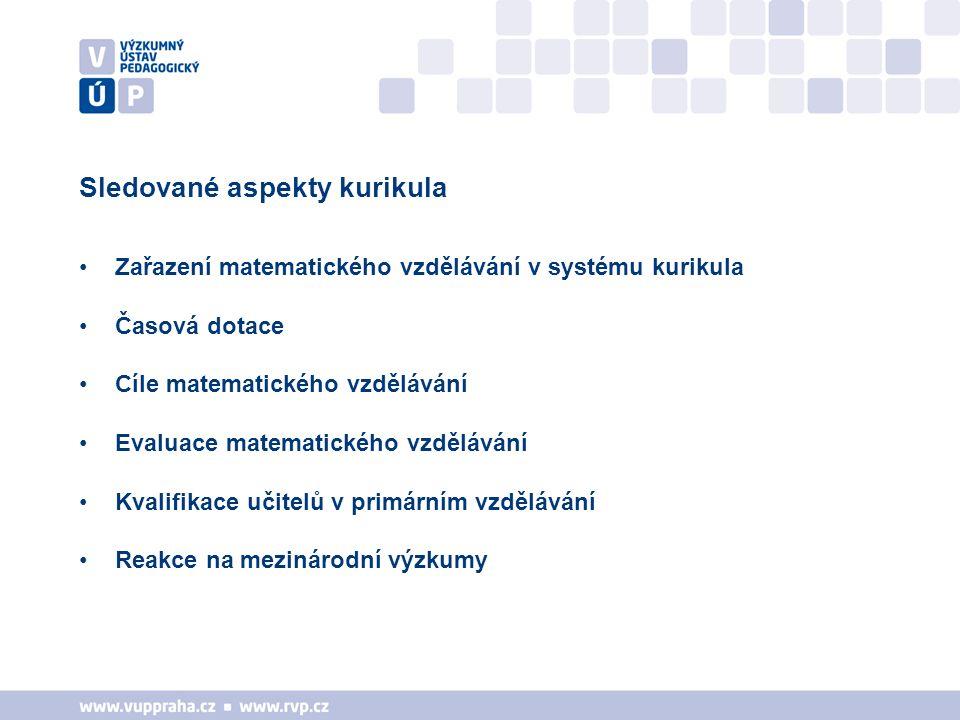 Sledované aspekty kurikula Zařazení matematického vzdělávání v systému kurikula Časová dotace Cíle matematického vzdělávání Evaluace matematického vzd