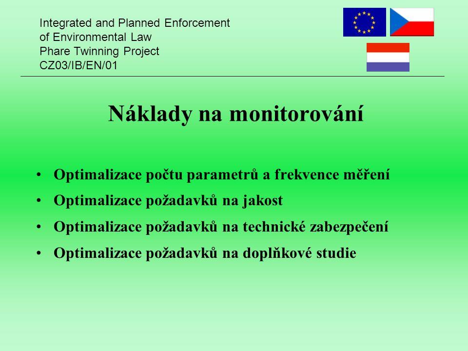 Integrated and Planned Enforcement of Environmental Law Phare Twinning Project CZ03/IB/EN/01 Náklady na monitorování Optimalizace počtu parametrů a frekvence měření Optimalizace požadavků na jakost Optimalizace požadavků na technické zabezpečení Optimalizace požadavků na doplňkové studie