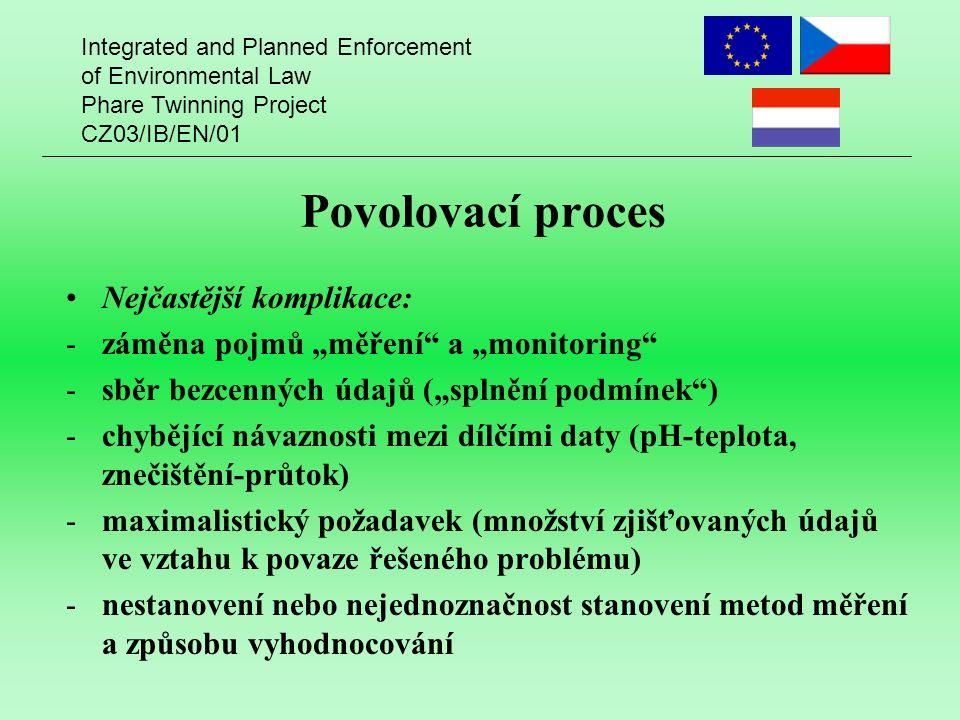 """Integrated and Planned Enforcement of Environmental Law Phare Twinning Project CZ03/IB/EN/01 Povolovací proces Nejčastější komplikace: -záměna pojmů """""""