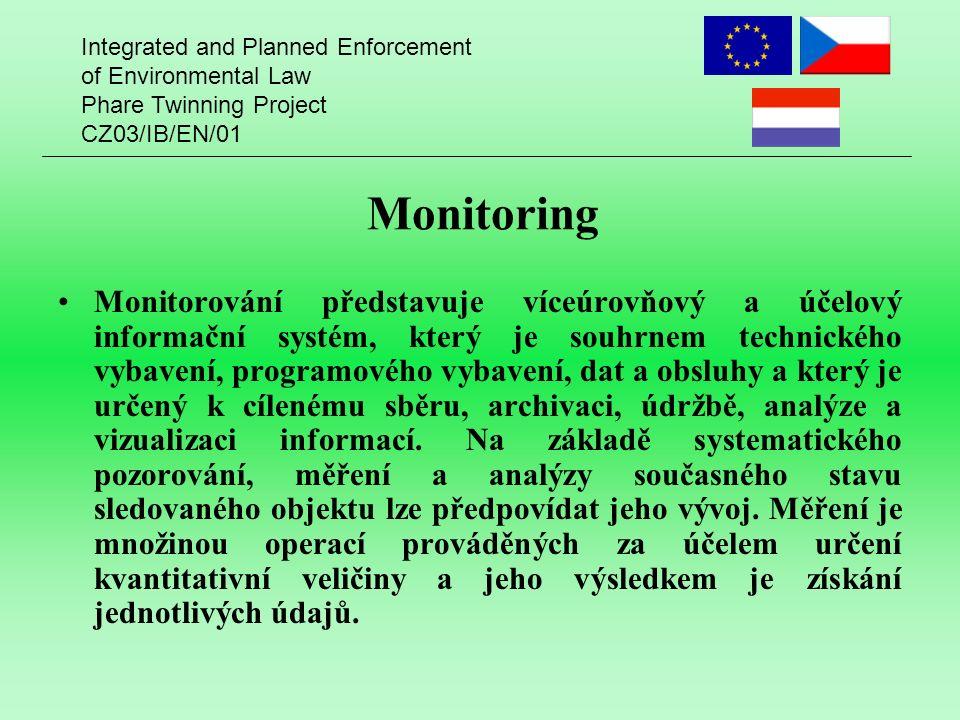 Integrated and Planned Enforcement of Environmental Law Phare Twinning Project CZ03/IB/EN/01 Monitoring Monitorování představuje víceúrovňový a účelový informační systém, který je souhrnem technického vybavení, programového vybavení, dat a obsluhy a který je určený k cílenému sběru, archivaci, údržbě, analýze a vizualizaci informací.