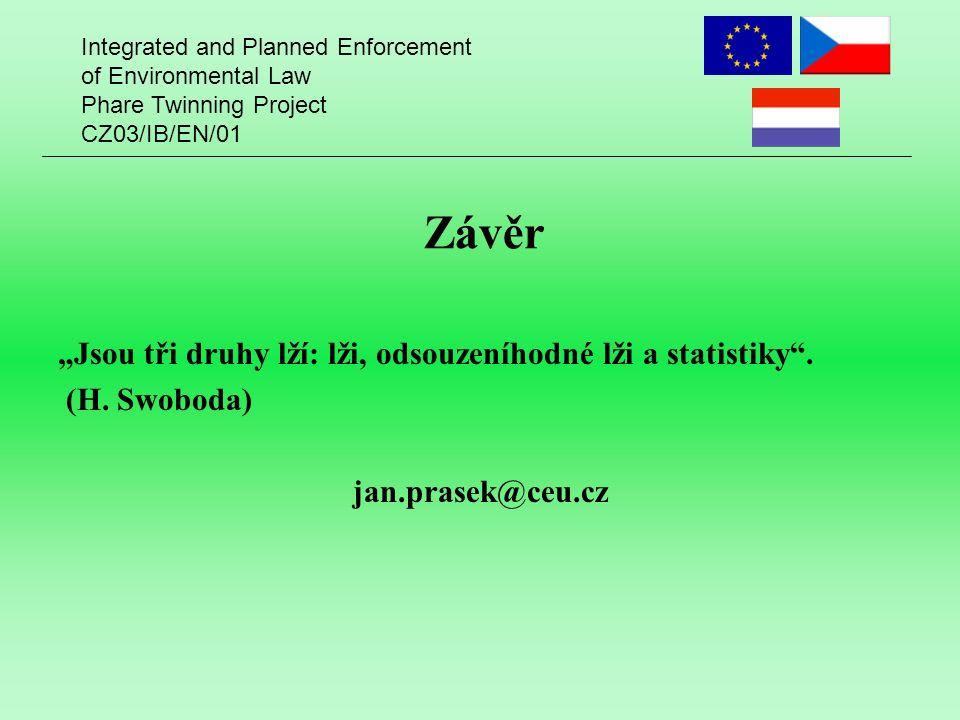 """Integrated and Planned Enforcement of Environmental Law Phare Twinning Project CZ03/IB/EN/01 Závěr """"Jsou tři druhy lží: lži, odsouzeníhodné lži a statistiky ."""