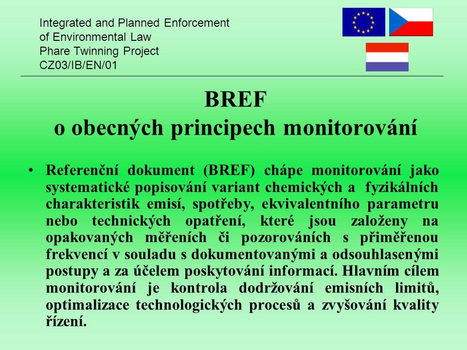 Integrated and Planned Enforcement of Environmental Law Phare Twinning Project CZ03/IB/EN/01 BREF o obecných principech monitorování Referenční dokume
