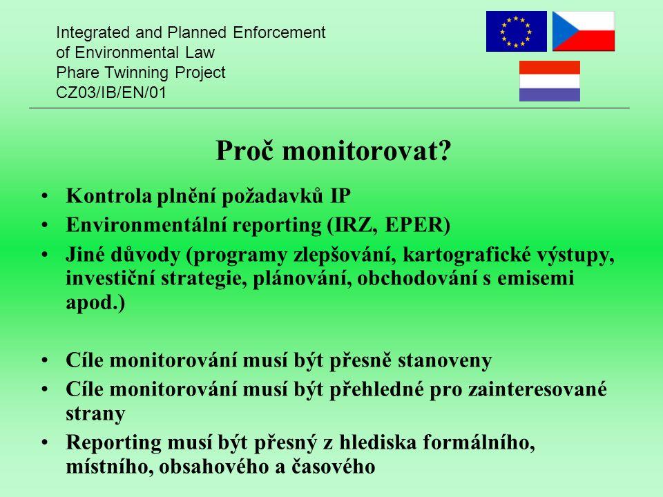 Integrated and Planned Enforcement of Environmental Law Phare Twinning Project CZ03/IB/EN/01 Celkové emise Celkové emise = = emise na koncových zařízeních + + difúzní a fugitivní emise + + mimořádné emise Difúzní a fugitivní emise Kvantifikují se: Analogií s usměrněnými emisemi Odhadem Pomocí optických senzorů Pomocí látkových (hmotnostních) bilancí Pomocí stopových látek