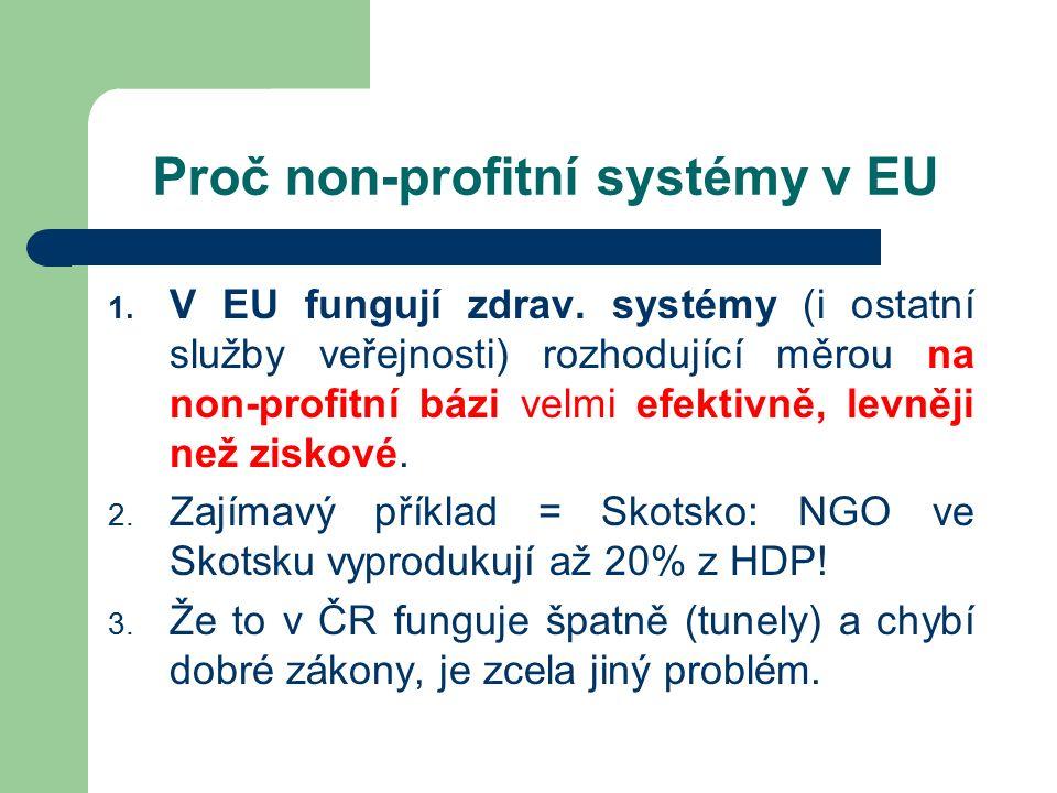 Proč non-profitní systémy v EU 1. V EU fungují zdrav.