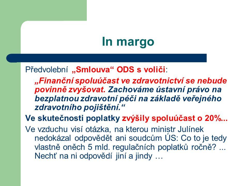"""In margo Předvolební """"Smlouva ODS s voliči: """"Finanční spoluúčast ve zdravotnictví se nebude povinně zvyšovat."""