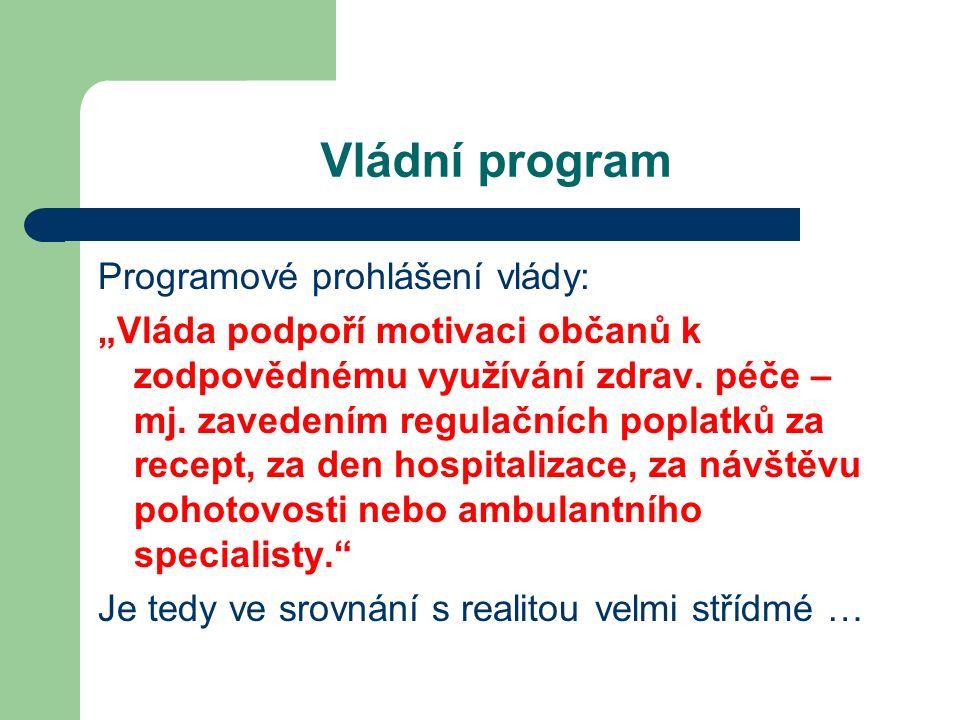 """Vládní program Programové prohlášení vlády: """"Vláda podpoří motivaci občanů k zodpovědnému využívání zdrav."""