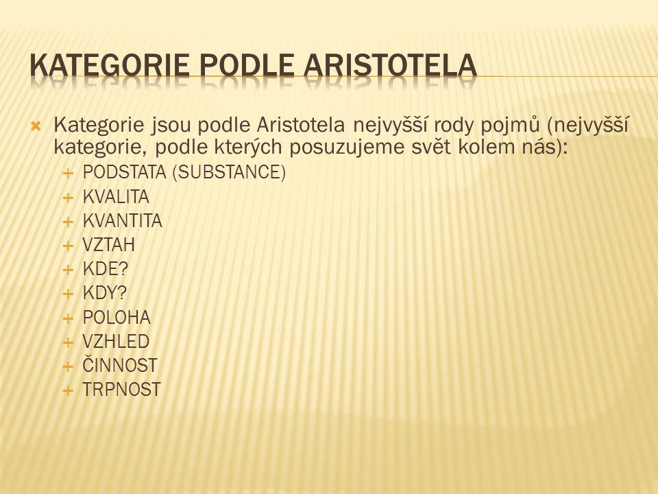  Kategorie jsou podle Aristotela nejvyšší rody pojmů (nejvyšší kategorie, podle kterých posuzujeme svět kolem nás):  PODSTATA (SUBSTANCE)  KVALITA  KVANTITA  VZTAH  KDE.