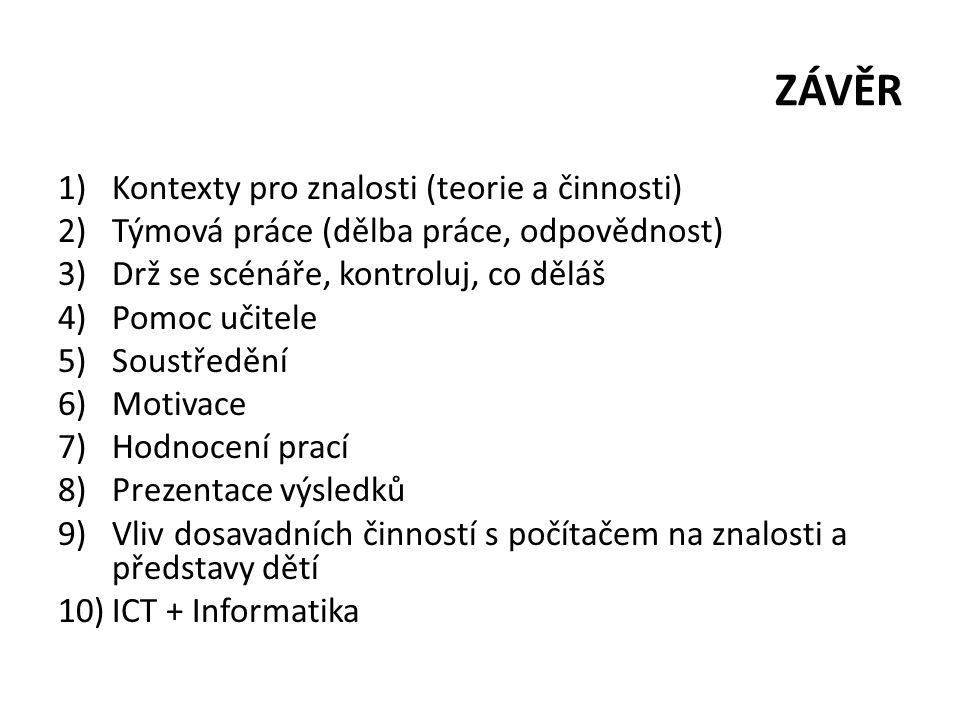 ZÁVĚR 1)Kontexty pro znalosti (teorie a činnosti) 2)Týmová práce (dělba práce, odpovědnost) 3)Drž se scénáře, kontroluj, co děláš 4)Pomoc učitele 5)So