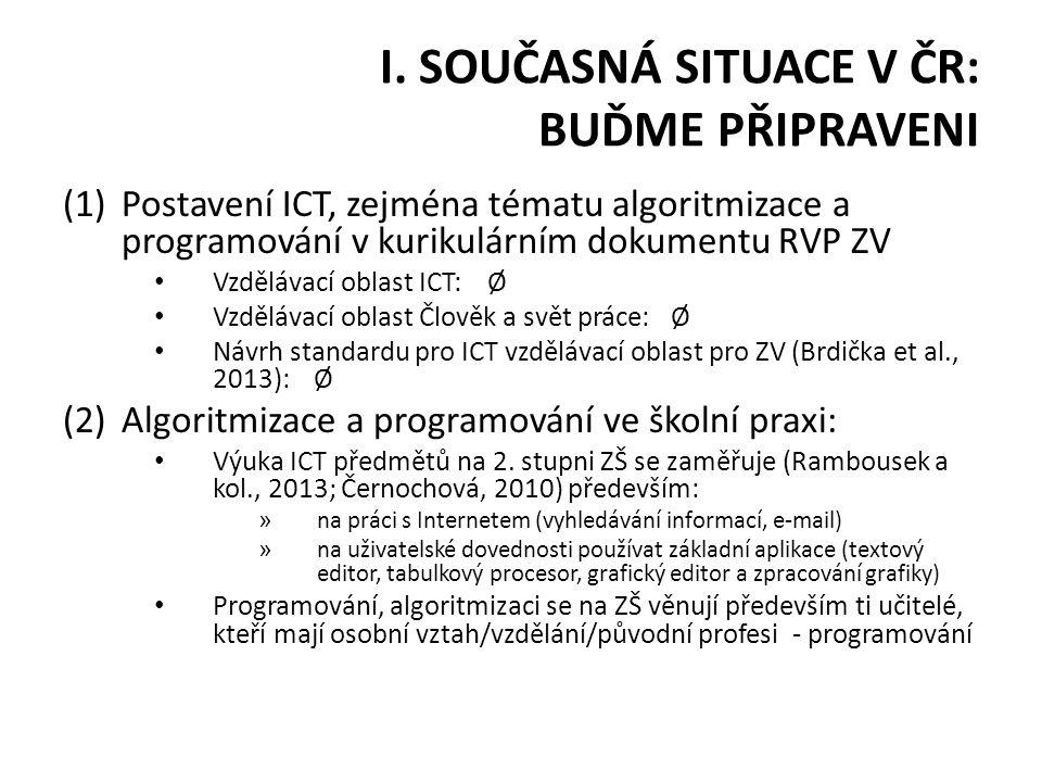 I. SOUČASNÁ SITUACE V ČR: BUĎME PŘIPRAVENI (1)Postavení ICT, zejména tématu algoritmizace a programování v kurikulárním dokumentu RVP ZV Vzdělávací ob