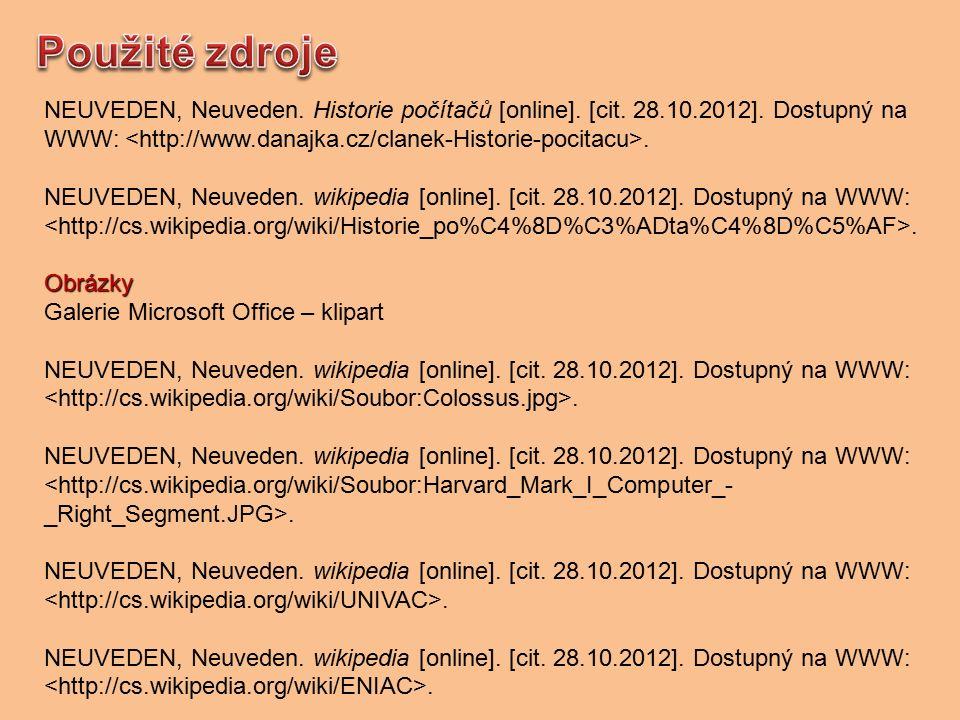 NEUVEDEN, Neuveden. Historie počítačů [online]. [cit.