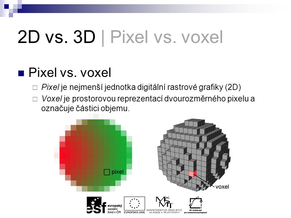 2D vs. 3D | Pixel vs. voxel Pixel vs.