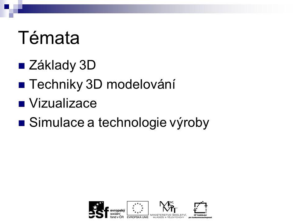 Témata Základy 3D Techniky 3D modelování Vizualizace Simulace a technologie výroby