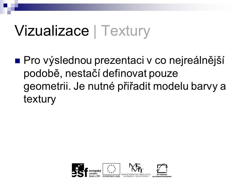 Vizualizace | Textury Pro výslednou prezentaci v co nejreálnější podobě, nestačí definovat pouze geometrii.