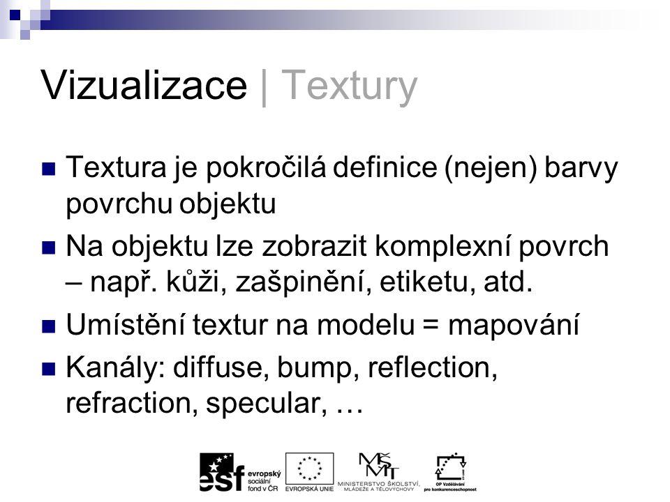 Vizualizace | Textury Textura je pokročilá definice (nejen) barvy povrchu objektu Na objektu lze zobrazit komplexní povrch – např.