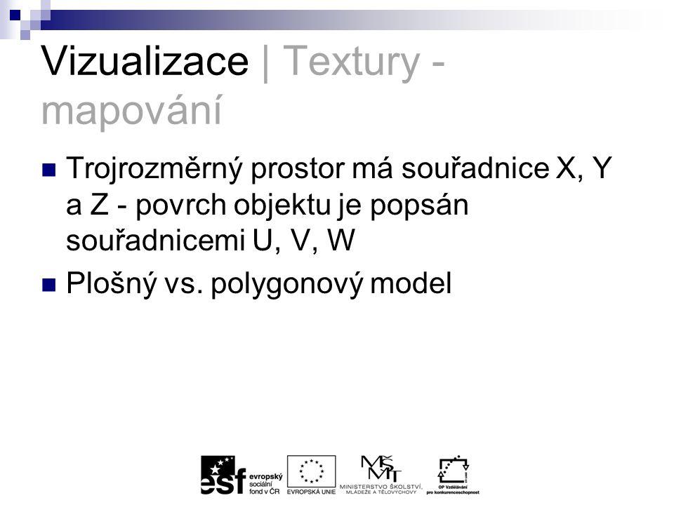 Vizualizace | Textury - mapování Trojrozměrný prostor má souřadnice X, Y a Z - povrch objektu je popsán souřadnicemi U, V, W Plošný vs.