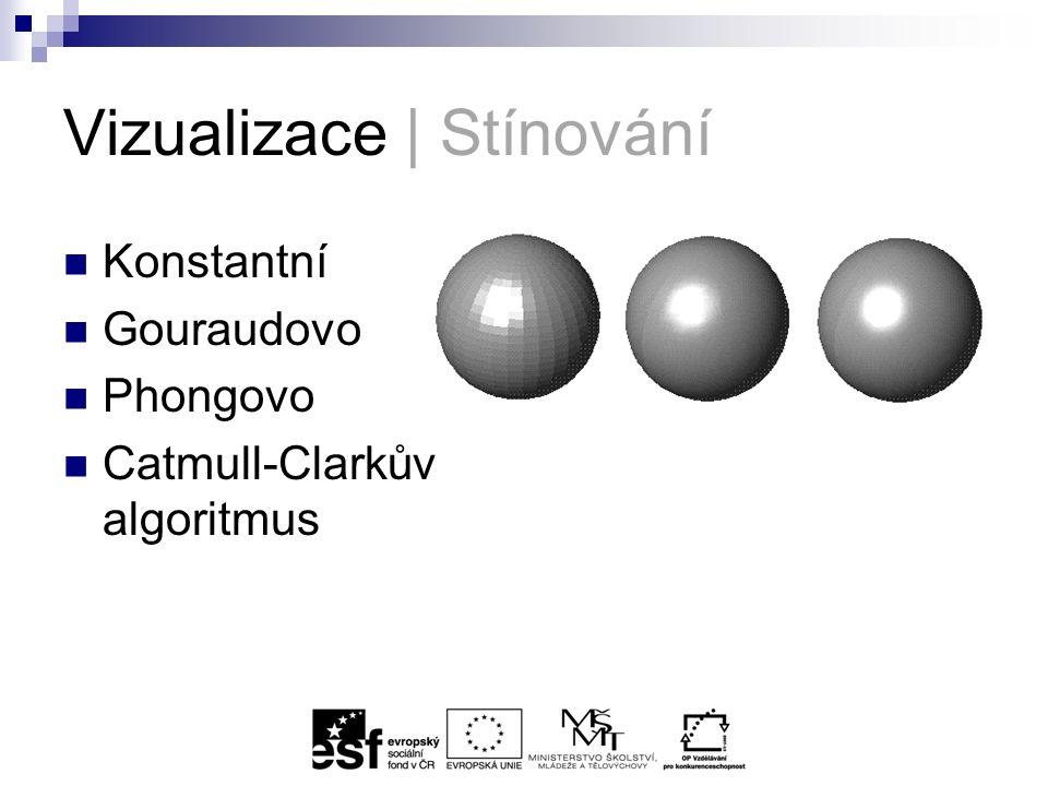 Vizualizace | Stínování Konstantní Gouraudovo Phongovo Catmull-Clarkův algoritmus
