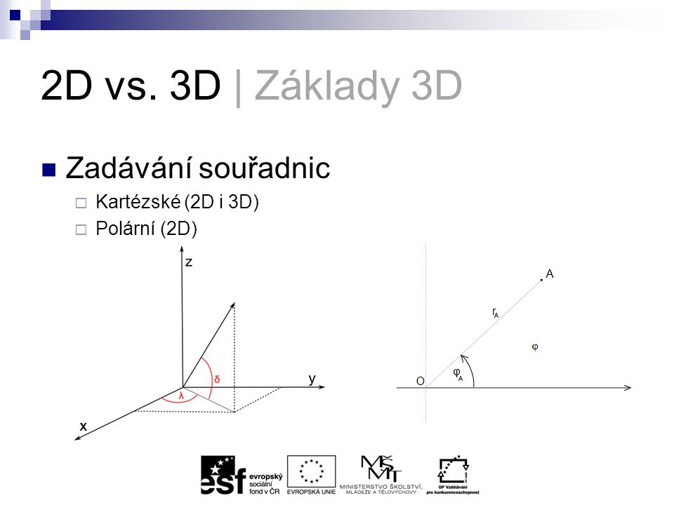 2D vs. 3D | Základy 3D Zadávání souřadnic  Kartézské (2D i 3D)  Polární (2D)