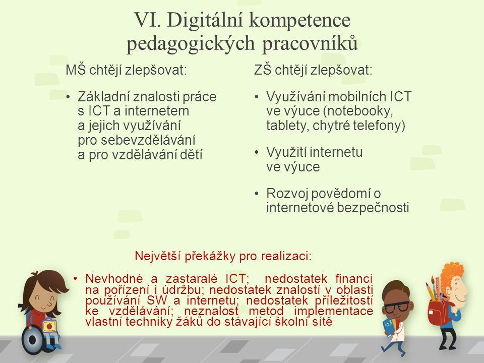 VI. Digitální kompetence pedagogických pracovníků MŠ chtějí zlepšovat: Základní znalosti práce s ICT a internetem a jejich využívání pro sebevzděláván