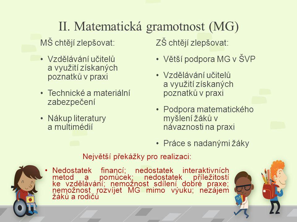 II. Matematická gramotnost (MG) MŠ chtějí zlepšovat: Vzdělávání učitelů a využití získaných poznatků v praxi Technické a materiální zabezpečení Nákup