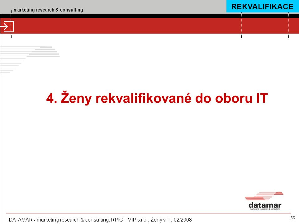 marketing research & consulting DATAMAR - marketing research & consulting, RPIC – VIP s.r.o., Ženy v IT, 02/2008 36 4.