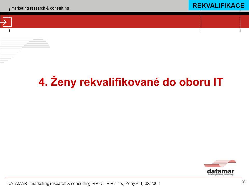 marketing research & consulting DATAMAR - marketing research & consulting, RPIC – VIP s.r.o., Ženy v IT, 02/2008 36 4. Ženy rekvalifikované do oboru I