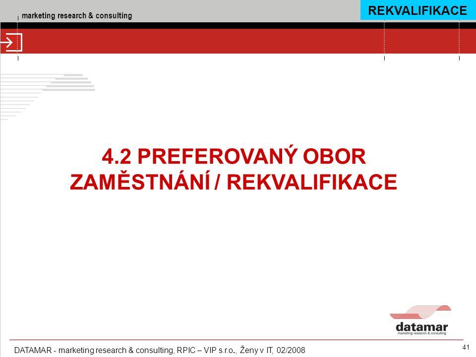 marketing research & consulting DATAMAR - marketing research & consulting, RPIC – VIP s.r.o., Ženy v IT, 02/2008 41 4.2 PREFEROVANÝ OBOR ZAMĚSTNÁNÍ /