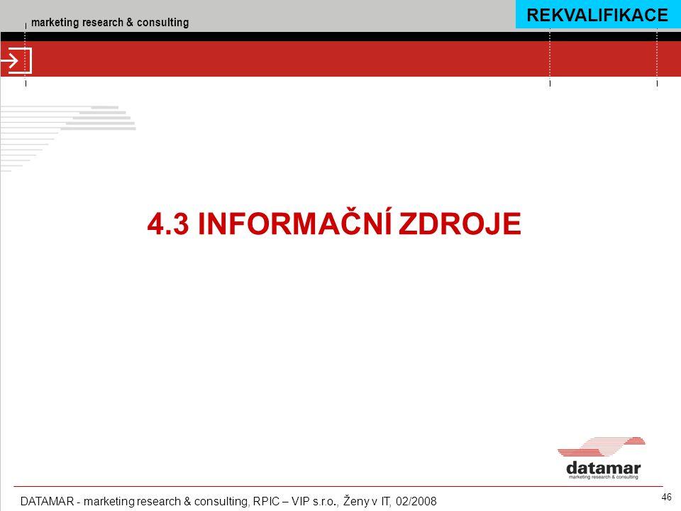 marketing research & consulting DATAMAR - marketing research & consulting, RPIC – VIP s.r.o., Ženy v IT, 02/2008 46 4.3 INFORMAČNÍ ZDROJE REKVALIFIKAC
