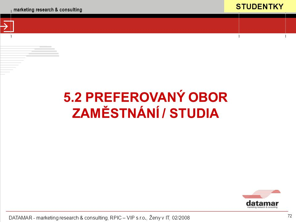 marketing research & consulting DATAMAR - marketing research & consulting, RPIC – VIP s.r.o., Ženy v IT, 02/2008 72 5.2 PREFEROVANÝ OBOR ZAMĚSTNÁNÍ / STUDIA STUDENTKY